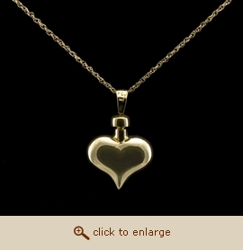 14K Gold Cremation Jewelry - Heart Pendant