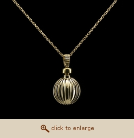 14K Gold Cremation Jewelry - Ribbed Ball Pendant