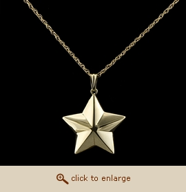 14K Gold Cremation Jewelry - Shaped Star Pendant