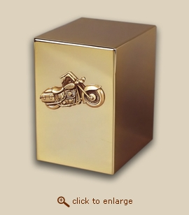24 K Gold Plated Cube Cremation Urn - Motorcycle