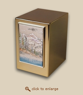 24 K Gold Plated Cube Cremation Urn - Mountain Lake
