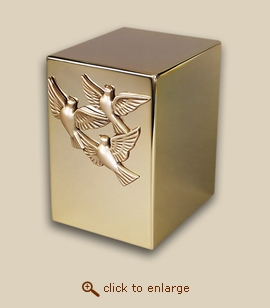 24 K Gold Plated Cube Cremation Urn - Spirit Doves