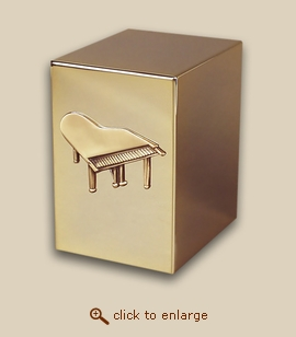 24 K Gold Plated Cube Cremation Urn - The Grand Piano