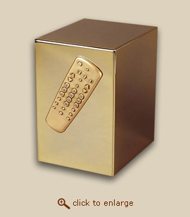 24 K Gold Plated Cube Cremation Urn - TV Clicker