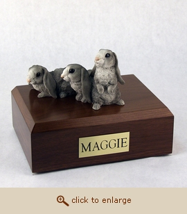 3 Gray Bunnies - Figurine Wood Pet Urn