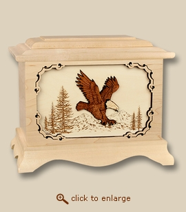 3D Eagle Maple Inlay Art Wood Cremation Urn