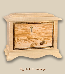 3D Inlay Beach and Cross Wood Art Religious Cremation Urn