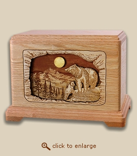 3D Inlay Bears Wood Art Cremation Featured Urn