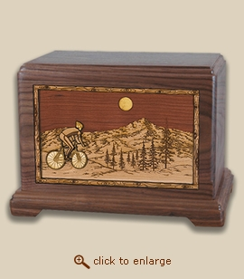 3D Inlay Bicycle Wood Art Cremation Featured Urn