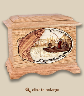 3D Inlay Boat Fishing Salmon Wood Art Cremation Featured Urn