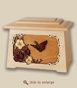 3D Inlay Butterfly Wood Art Cremation Featured Urn