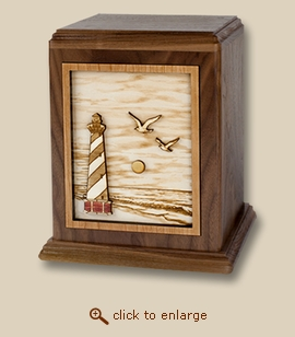 3D Inlay Cape Lighthouse Walnut Wood Art Cremation Urn
