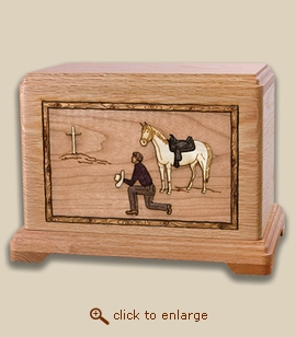 3D Inlay Cowboy Wood Art Religious Cremation Urn