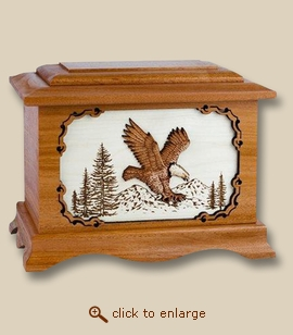 3D Inlay Eagle Mahogany Wood Cremation Urn