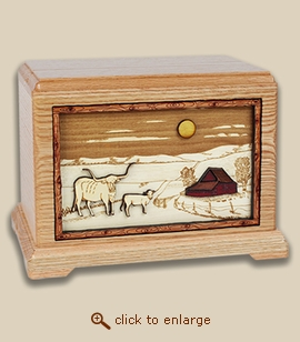 3D Inlay Farm and Cattle Wood Art Cremation Featured Urn