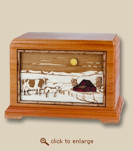 3D Inlay Farm and Dairy Cows Wood Art Cremation Urn