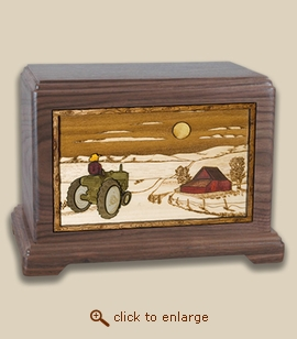 3D Inlay Farm and Tractor Wood Art Cremation Featured Urn