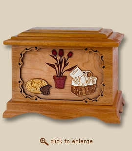 3D Inlay Gardening Mahogany Wood Art Cremation Urn