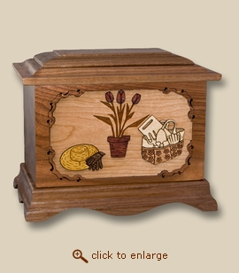 3D Inlay Gardening Walnut Wood Art Cremation Urn