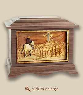 3D Inlay Horse and Cross Wood Art Cremation Featured Urn
