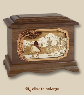 3D Inlay Horse Mountain and Lake Wood Art Cremation Urn