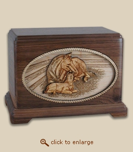 3D Inlay Horses Mothers Love Wood Art Cremation Urn