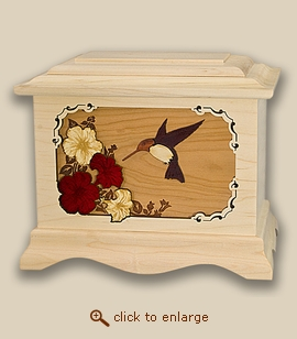 3D Inlay Hummingbird Maple Wood Art Cremation Featured Urn