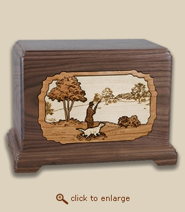 3D Inlay Hunter Wood Art Cremation Featured Urn