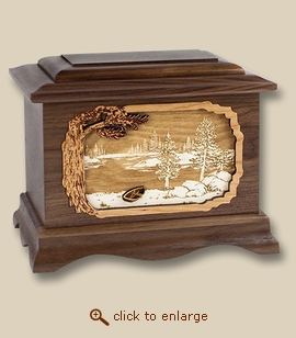 3D Inlay Lake and Boat Walnut Wood Art Cremation Urn