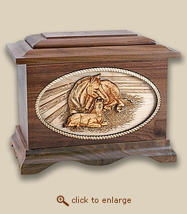 3D Inlay Mothers Love Horses Wood Art Cremation Featured Urn