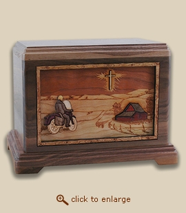 3D Inlay Motorcycle Wood Art Cremation Featured Urn