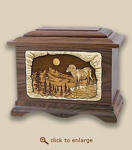 3D Inlay Ram Wood Art Cremation Featured Urn