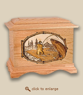 3D Inlay Salmon Fishing Wood Art Cremation Featured Urn