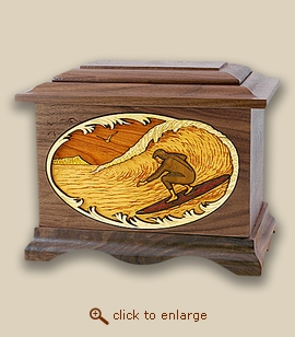 3D Inlay Surfing Wood Art Cremation Featured Urn