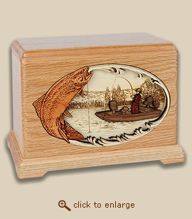 3D Inlay Trout Fishing Wood Art Cremation Featured Urn