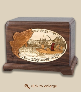 3D Inlay Walleye Boat Fishing Wood Art Cremation Featured Urn
