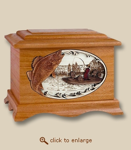 3D Inlay Walleye Fishing Mahogany Wood Art Cremation Urn