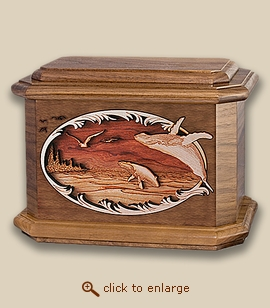 3D Inlay Whales Wood Art Cremation Featured Urn