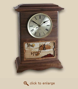 3D Wood Clock Cremation Urn Cabin - Ambassador