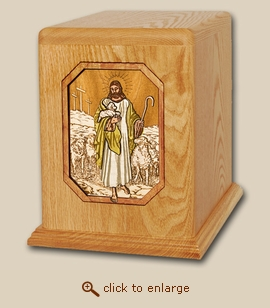 Companion - 3D Lord is My Shepherd Wood Religious Cremation Urn