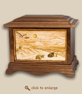 3D Inlay Beach View Wood Art Cremation Urn