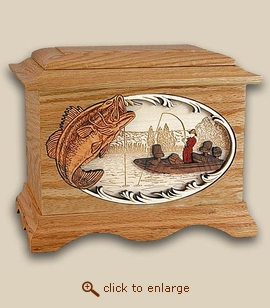 3D Inlay Bass Boat Fishing Wood Art Sport Cremation Urn