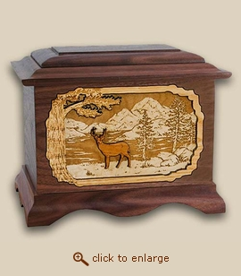 3D Inlay Deer Wood Art Cremation Urn