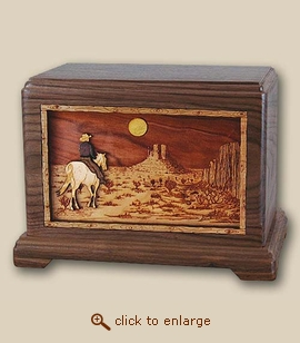 3D Inlay Horse and Desert Wood Art Cremation Urn