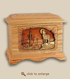 3D Inlay Wolf Desert Moon Wood Art Cremation Urn
