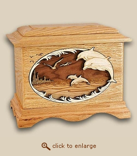 3D Inlay Dolphins Oak Wood Art Cremation Urn