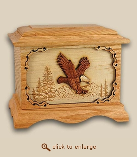 3D Inlay Eagle Wood Art Cremation Urn