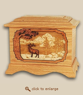 3D Inlay Ek Wood Art Cremation Urn