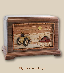 3D Inlay Farm and Tractor Wood Art Cremation Urn