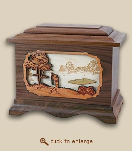 3D Inlay Golf Wood Art Sport Cremation Urn
